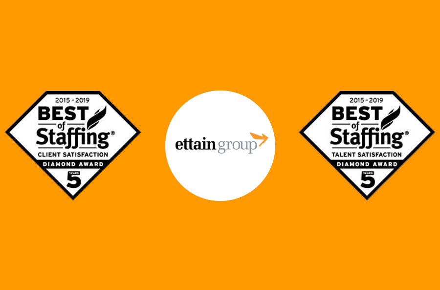 ettain group wins ClearlyRated's 2019 Best Of Staffing® Client and Talent Diamond Awards