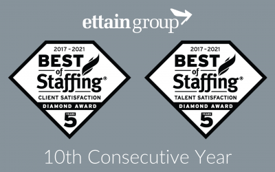 ettain group wins ClearlyRated's Best of Staffing® Client and Talent Diamond Awards for 10th Consecutive Year
